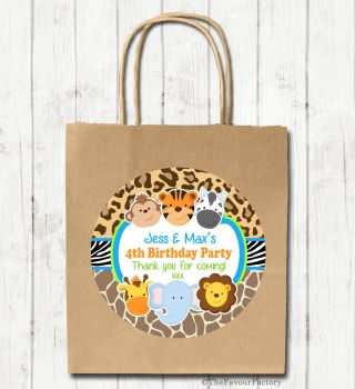 Cute Wild Animals Personalised Children's Birthday Paper Party Bags x1