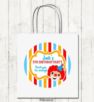 Circus Clown Personalised Children's Birthday Paper Party Bags x1