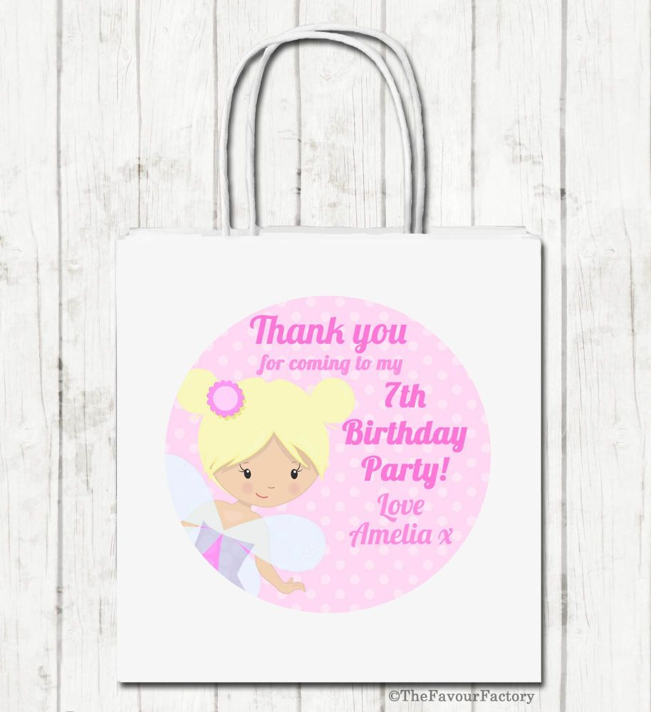 Fairy Personalised Paper Birthday Party Bags x1