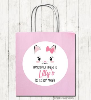 Cat Face Personalised Children's Birthday Paper Party Bags x1
