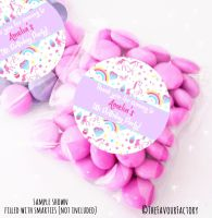 Unicorn Stars Personalised Birthday Party Sweet Bags Party Bag Fillers x12