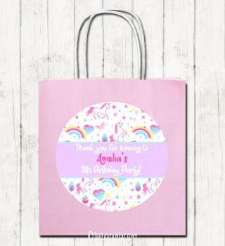 Unicorn Stars Personalised Children's Birthday Paper Party Bags x1
