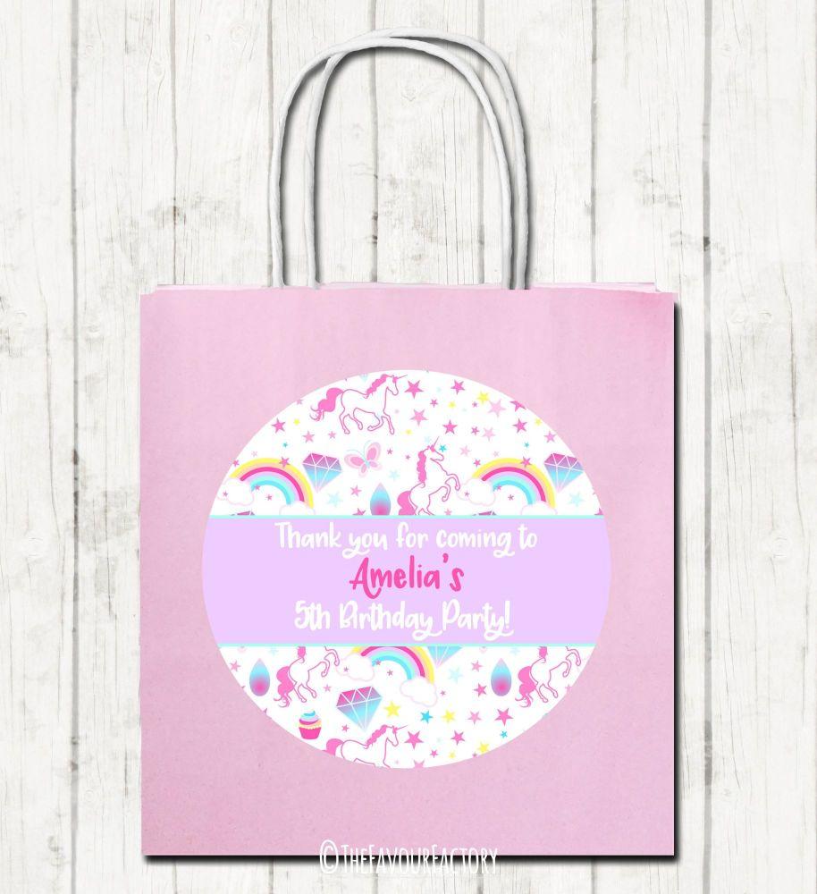 Unicorn Stars Personalised Children's Birthday Paper Party Bags x1