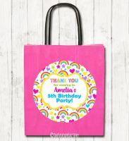 Hearts and Rainbows Personalised Children's Birthday Paper Party Bags x1