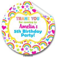 Kids Birthday Party Stickers Labels Hearts & Rainbows