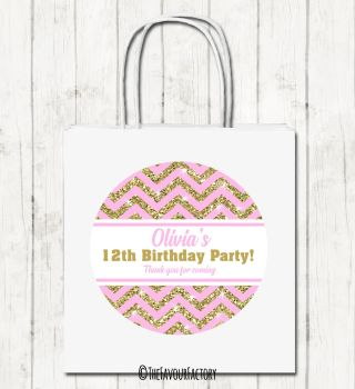 Gold Glitter Pink Zig Zags Personalised Children's Birthday Paper Party Bags x1