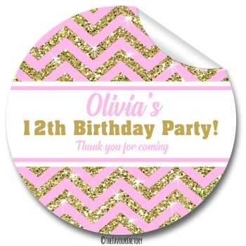 Gold Glitter Pink Zig Zags Birthday Party Personalised Bags Stickers 1x A4 sheet