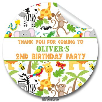 Lots of Animals Birthday Party Personalised Bags Stickers 1x A4 sheet