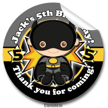 Kids Birthday Party Stickers Labels Batman Superhero