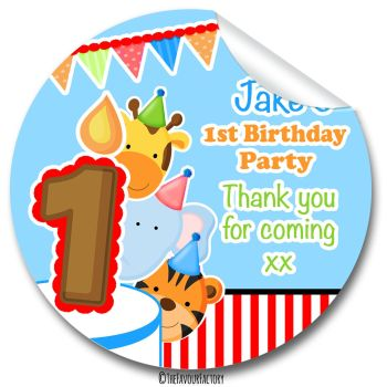 Animal Friends Boys Personalised Birthday party stickers 1x A4 sheet