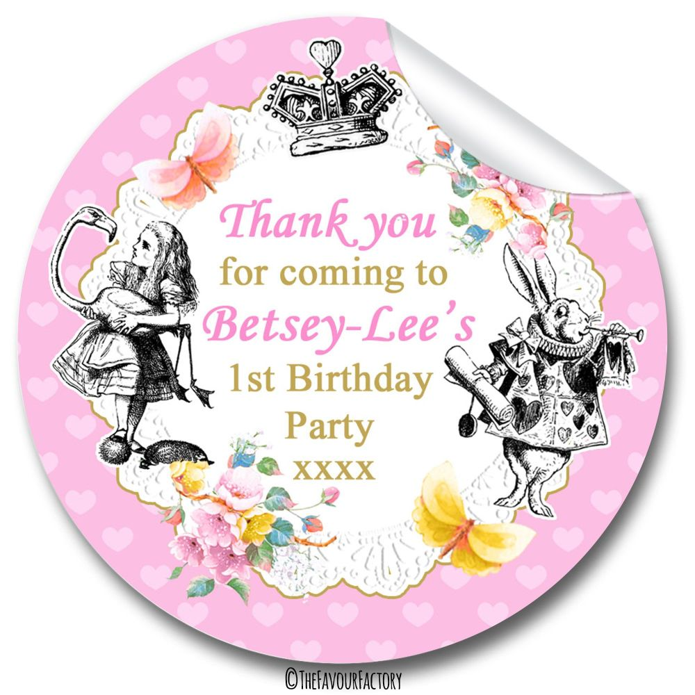 Personalised Alice in Wonderland Birthday Party Stickers Sweet Cones Bags Labels