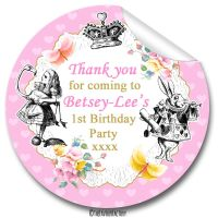 Kids Birthday Party Stickers Labels Alice in Wonderland Vintage