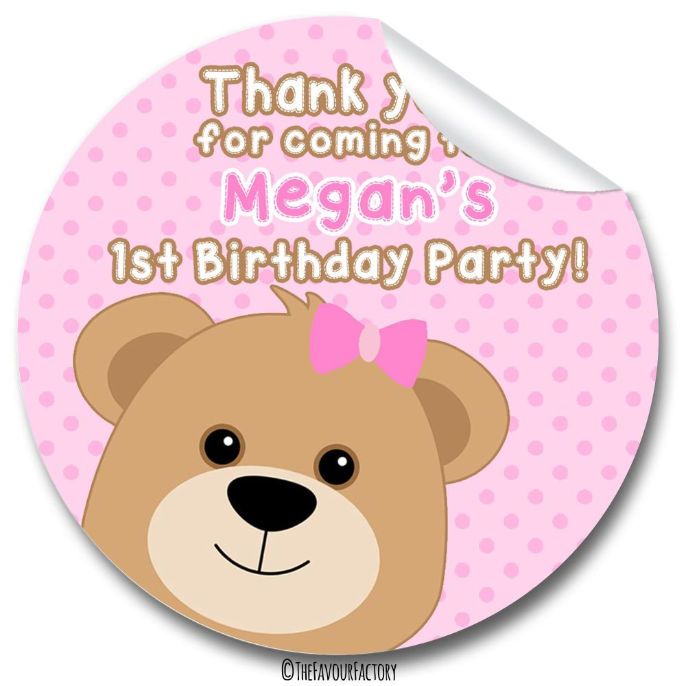 Teddy Bear Pinks Birthday party bags stickers, personalised 1x A4 sheet