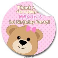 Teddy Bear Girl Birthday party bags stickers, personalised 1x A4 sheet