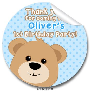 Teddy Bear Blue Boys Birthday party bags stickers, personalised 1x A4 sheet