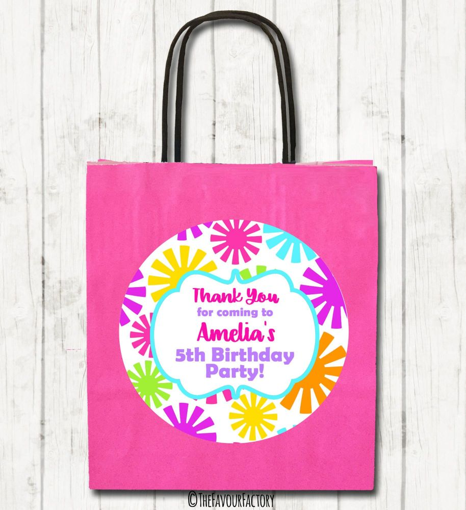 Funky Flowers Personalised Children's Birthday Paper Party Bags x1