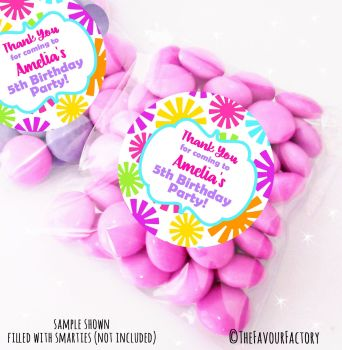 Funky Flowers Personalised Birthday Party Sweet Bags Party Bag Fillers x12