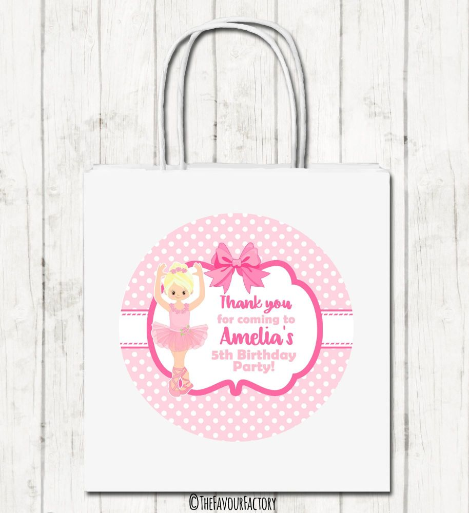 Blonde Ballerina Personalised Children's Birthday Paper Party Bags x1