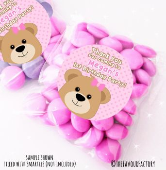 Girl Teddy Bear Personalised Birthday Party Sweet Bags Party Bag Fillers x12