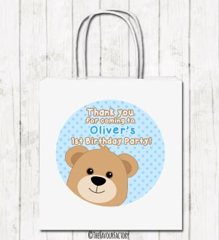 Teddy Bear Boy Personalised Children's Birthday Paper Party Bags x1