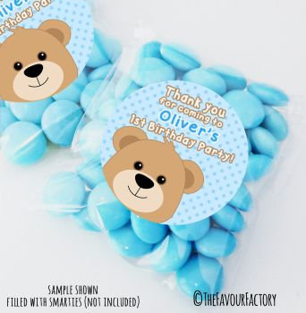 Boy Teddy Bear Personalised Birthday Party Sweet Bags Party Bag Fillers x12