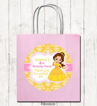 Princess Belle Personalised Children's Birthday Paper Party Bags x1