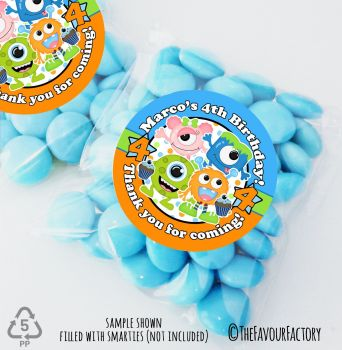 Birthday Monsters Personalised Birthday Party Sweet Bags Party Bag Fillers x12