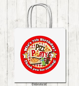 Pizza Party Personalised Children's Birthday Paper Party Bags x1