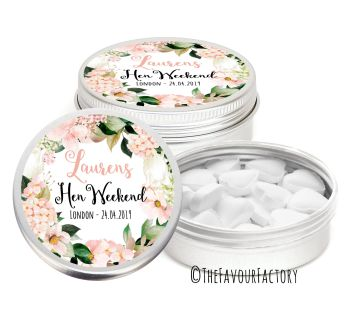 Hen Party Favour Tins Personalised Keepsakes Florals Blush Hydrangeas x1
