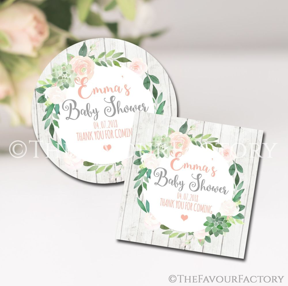 Succulents Floral Personalised Baby Shower Party Favours Stickers 1x A4 she