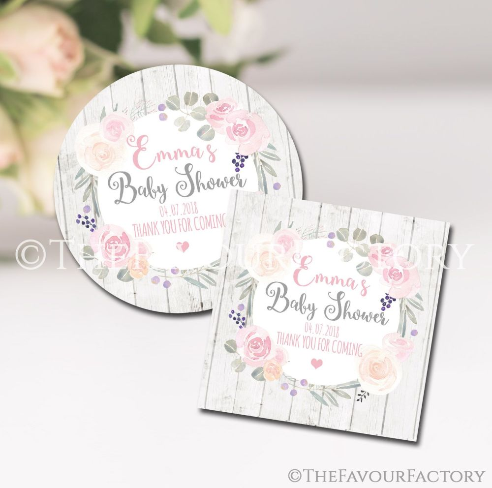 Roses & Eucalyptus Boho Floral Personalised Baby Shower Party Favours Stick