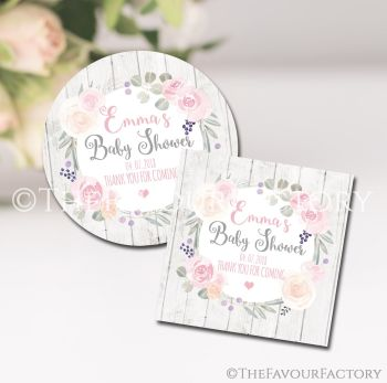 Roses & Eucalyptus Boho Floral Personalised Baby Shower Party Favours Stickers