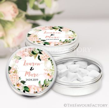 Wedding Favour Tins Keepsakes Personalised Blush Hydrangeas Florals x1