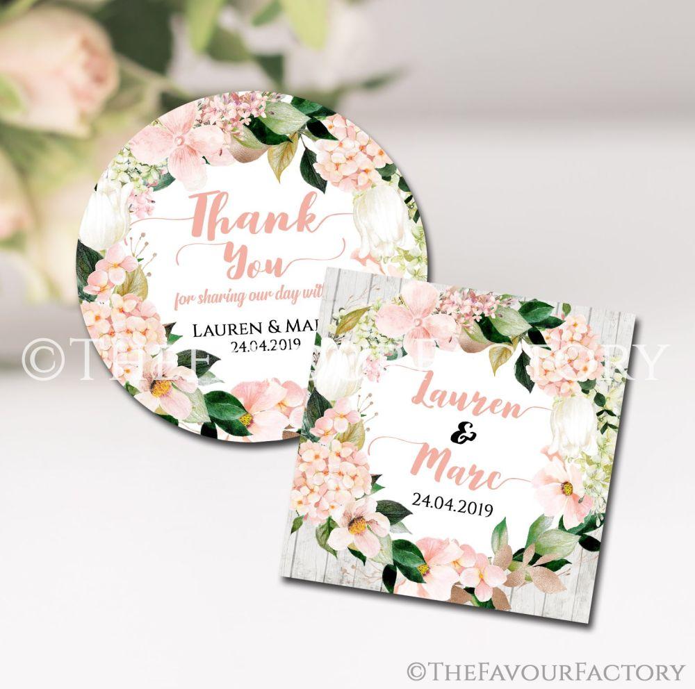 Wedding Favour Stickers Personalised Blush Hydrangeas Floral Wreath