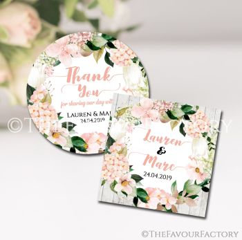 Wedding Favour Stickers Personalised Blush Hydrangeas Floral Wreath