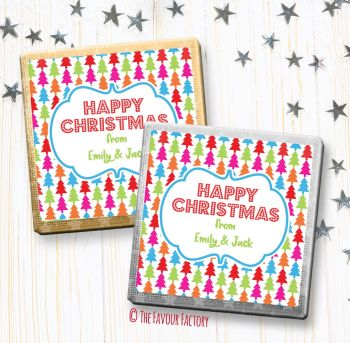 Christmas Chocolates Favours Personalised Bright Baubles