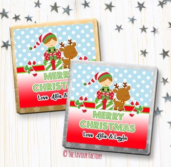 Christmas Chocolates Favours Personalised Elf on presents