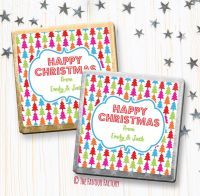 Christmas Chocolates Favours Personalised Bright Trees