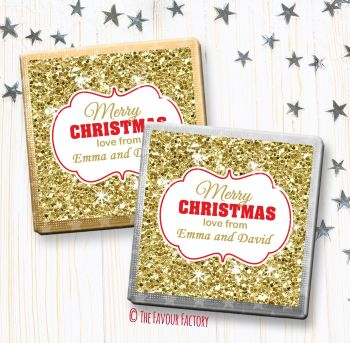 Christmas Chocolates Favours Personalised Gold Glitter