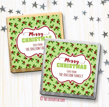 Christmas Chocolates Favours Personalised Polka Dot Holly