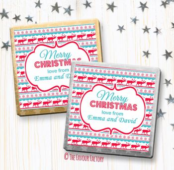 Christmas Chocolates Favours Personalised Reindeer Snowflakes Pattern