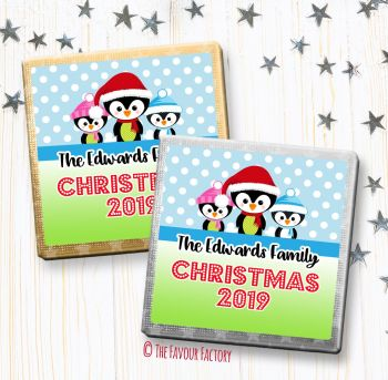 Christmas Chocolates Favours Personalised 3 Little Penguins