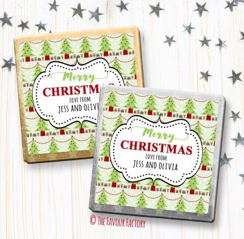Merry Christmas Chocolates Favours Personalised Polka Dot Trees