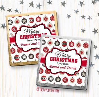 Merry Christmas Chocolates Favours Personalised Grey and Red Baubles