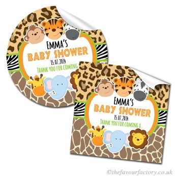 Baby Shower Stickers Personalised Cute Wild Animal Prints