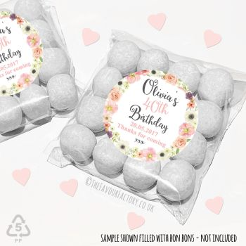 Adult Birthday Party Favours Sweet Bags Kits Jessica florals x 12