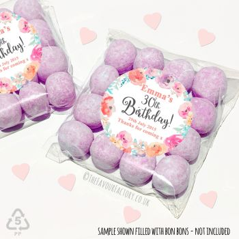 Adult Birthday Party Favours Sweet Bags Kits Emma floral wreath x 12