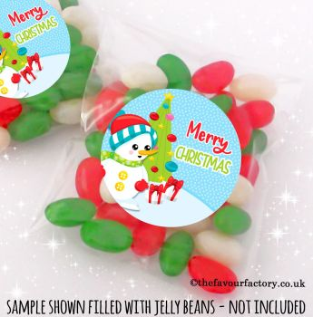 Christmas Table Favours Sweet Bags Kits Little Snowman buttons x 12