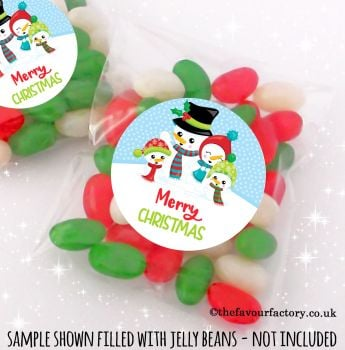 Christmas Table Favours Sweet Bags Kits Snowman Family x 12