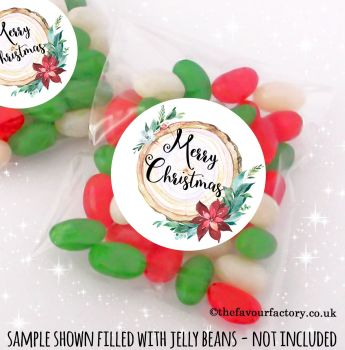 Christmas Table Favours Sweet Bags Kits Wooden Floral x 12